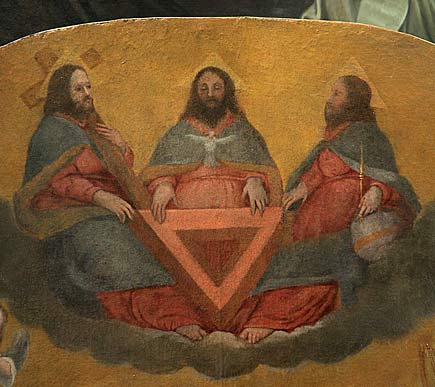 Triora (IM) - Oratorio di San Giovanni Battista, quadro della visione di San Giovanni di Matha (particolare)