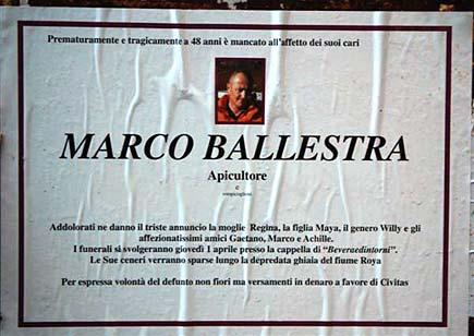 Manifesto da morto per Marco Ballestra