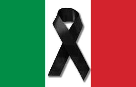 Bandiera italiana a lutto per quella porcata della legge sulle intercettazioni