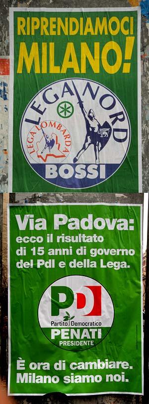 Manifesti elettorali Bossi e Penati