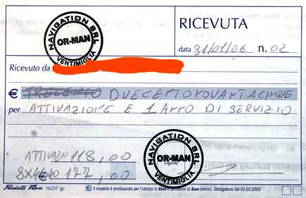 ricevuta di pagamento